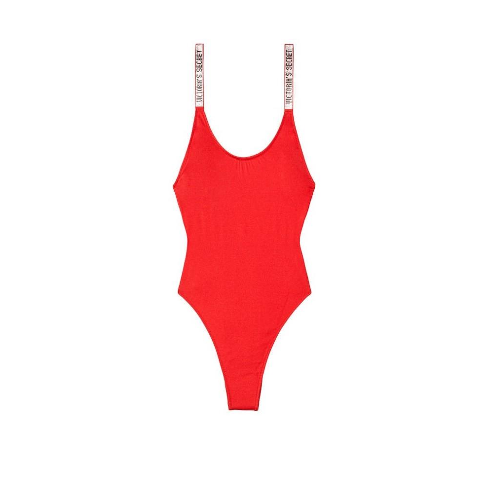 Красный сдельный купальник со стразами Виктория Сикрет Shine Strap One-piece