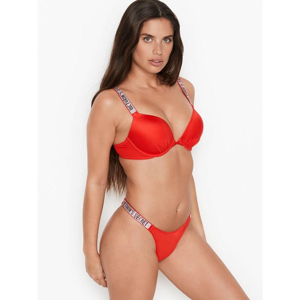Красный купальник со стразами Виктория Сикрет Bombshell Shine Strap