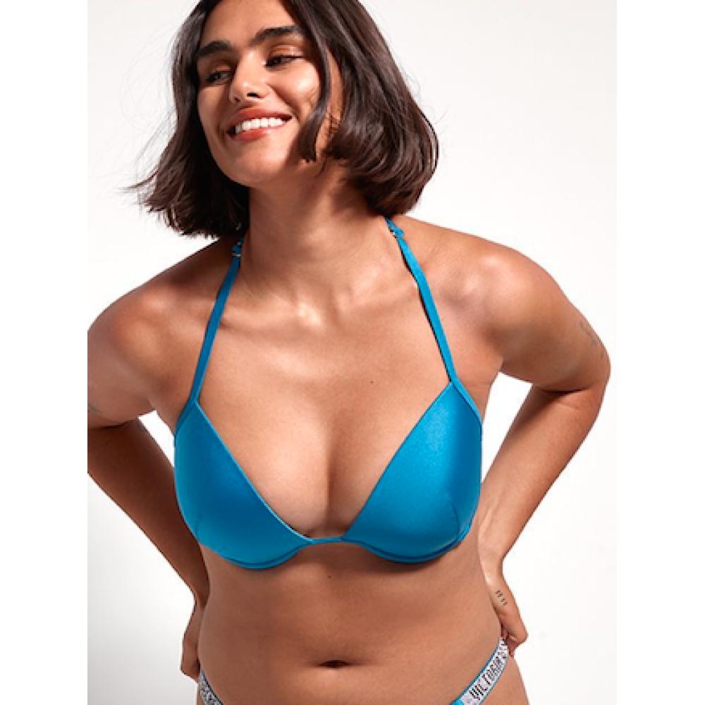 Голубой купальник со стразами на спинке Виктория Сикрет Shine Strap Back