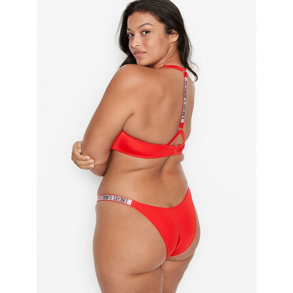 Красный купальник со стразами на спинке Виктория Сикрет Shine Strap Back