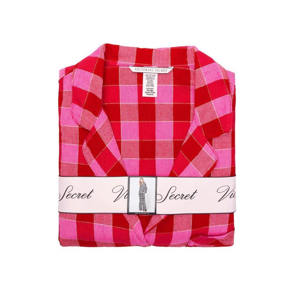 Фланелевая пижама Виктория Сикрет Flannel Long PJ Set клетчатый принт