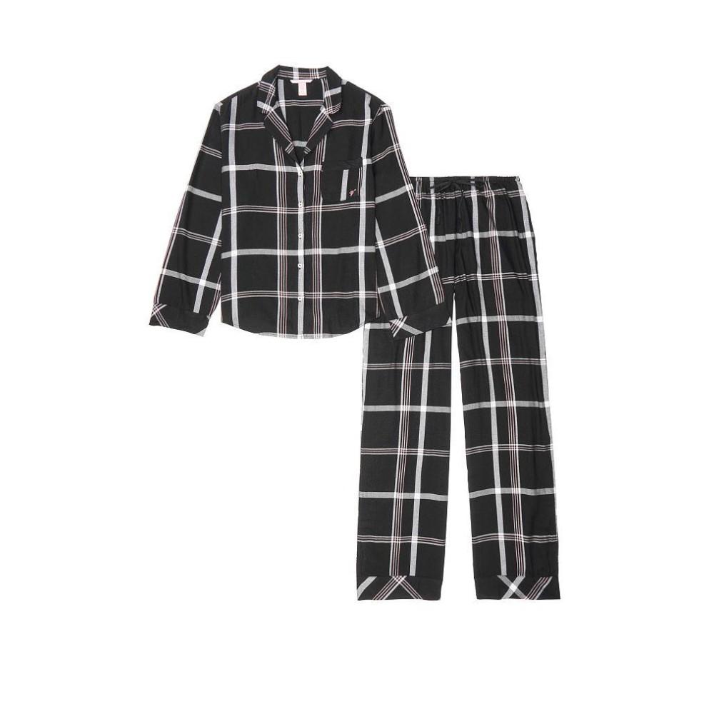 Піжама чорна в клітинку VS Flannel Long PJ Set