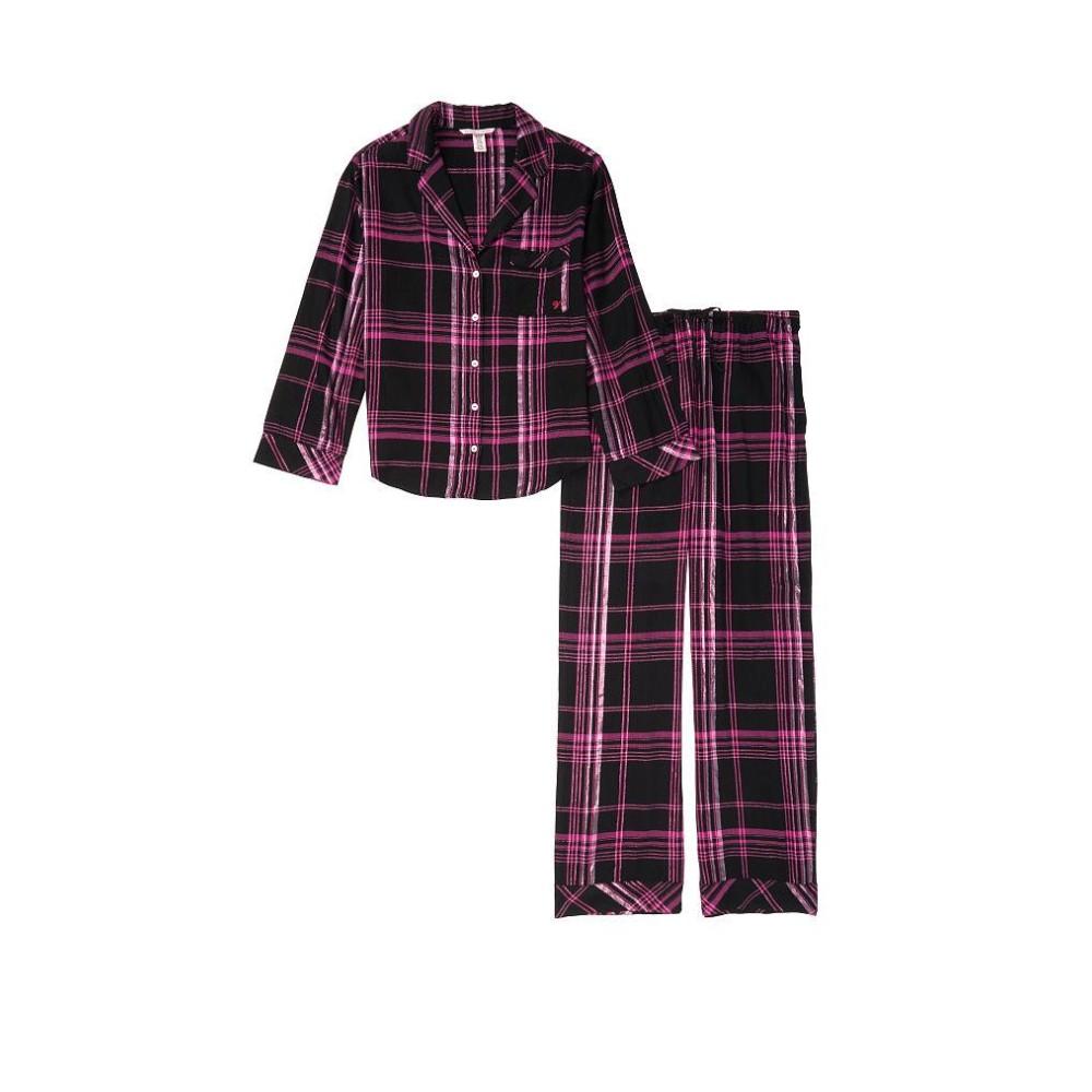 Пижама черная в розовую клетку VS Flannel Long PJ Set