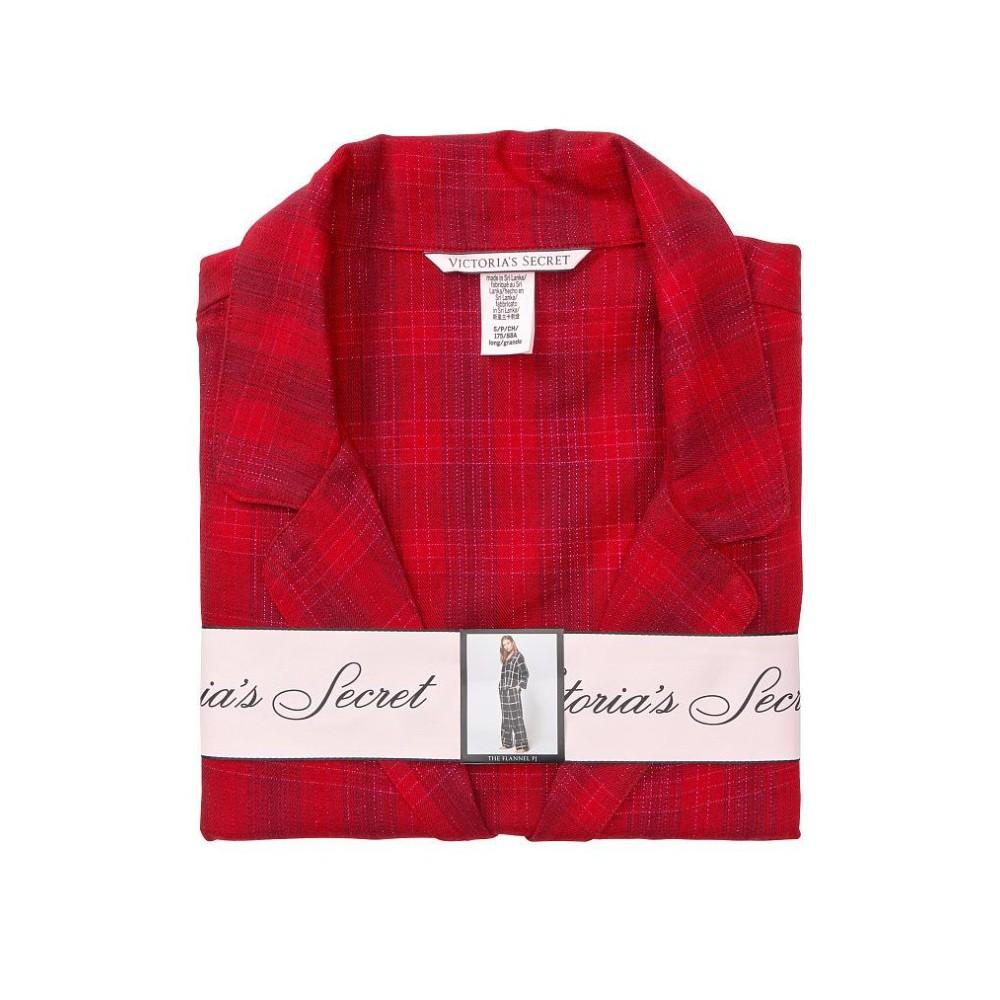 Піжама VS Flannel Long PJ Set червона у клітинку