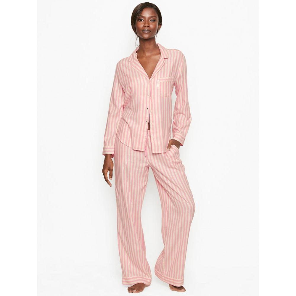 Пижама в полоску VS Flannel Long PJ Set Pink Stripes