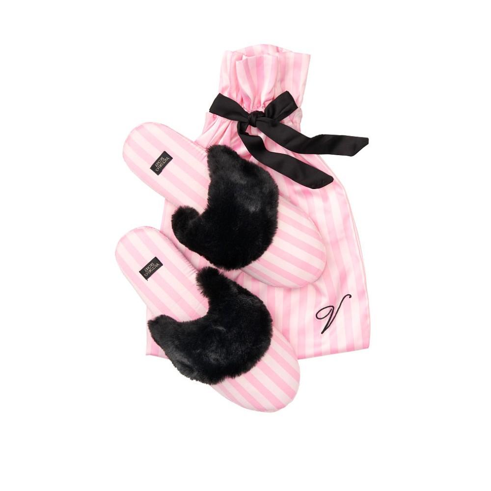 Тапочки в рожеву смужку Вікторія Сікрет VS Signature Satin Slippers