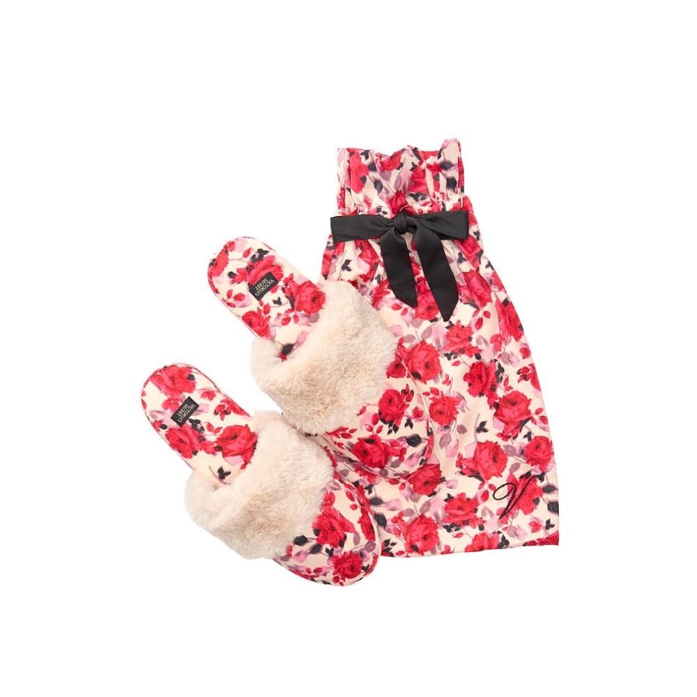 Тапочки Вікторія Сікрет з принтом троянди VS Signature Satin Slippers